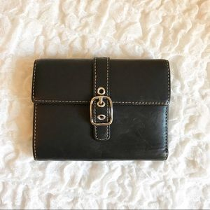 COACH Black Leather Trifold Wallet